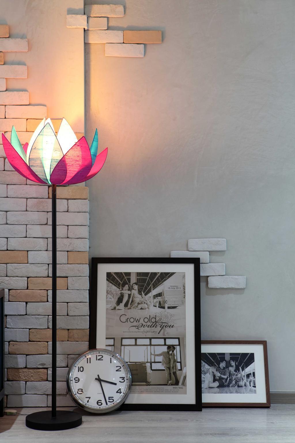 Scandinavian, HDB, Punggol Field (Block 170A), Interior Designer, Boon Siew D'sign, Lotus, Standing Light, Wall Art, Brick Wall, Lotus Floor Lamp, Clock, Framed Portrait, Poster, Wall