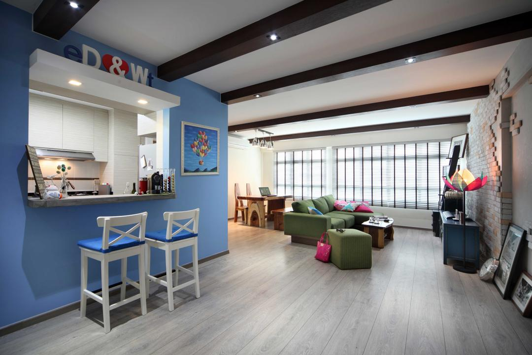 Punggol Field (Block 170A), Boon Siew D'sign, Scandinavian, Living Room, HDB, Blue Wall, Dininig Room, Dining Table, High Chairs, Sky Blue Wall, Loft Ceiling Design, Window Opening In Kitchen, Kitchen Window Opening, Flooring, Couch, Furniture, Chair
