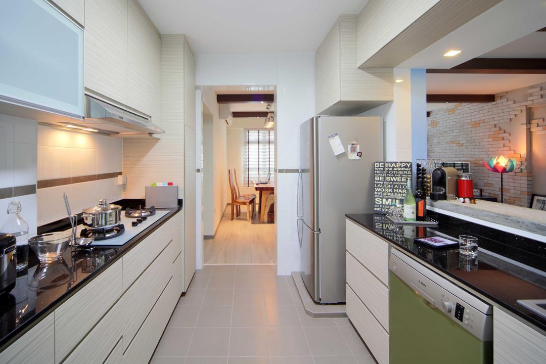 Punggol Field (Block 170A), Boon Siew D'sign, Scandinavian, Kitchen, HDB, White Laminate, Granite, Tabletop, Indoors, Interior Design, Room, Flooring