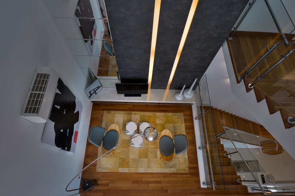 Modern, Landed, Living Room, Dolomite Templer Park, Selayang, Interior Designer, SQFT Space Design Management, Banister, Handrail, Staircase, Plywood, Wood