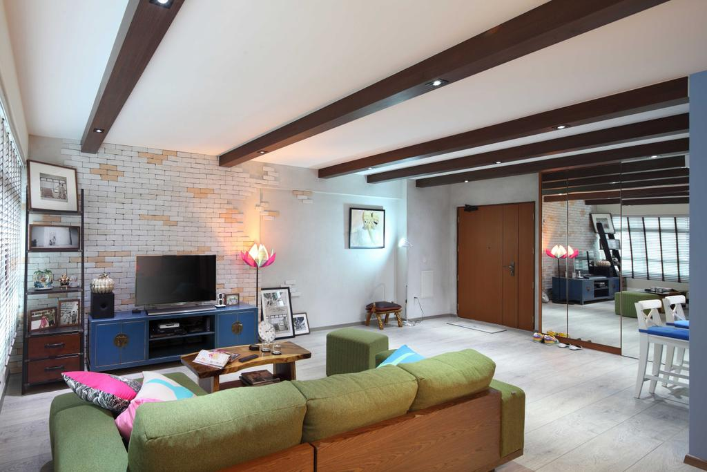 Scandinavian, HDB, Living Room, Punggol Field (Block 170A), Interior Designer, Boon Siew D'sign, Loft Ceiling Design, Brown, Brick Wall, White Brick Wall, Mirror, Mirror Wall, Couch, Furniture, Building, Housing, Indoors, Loft