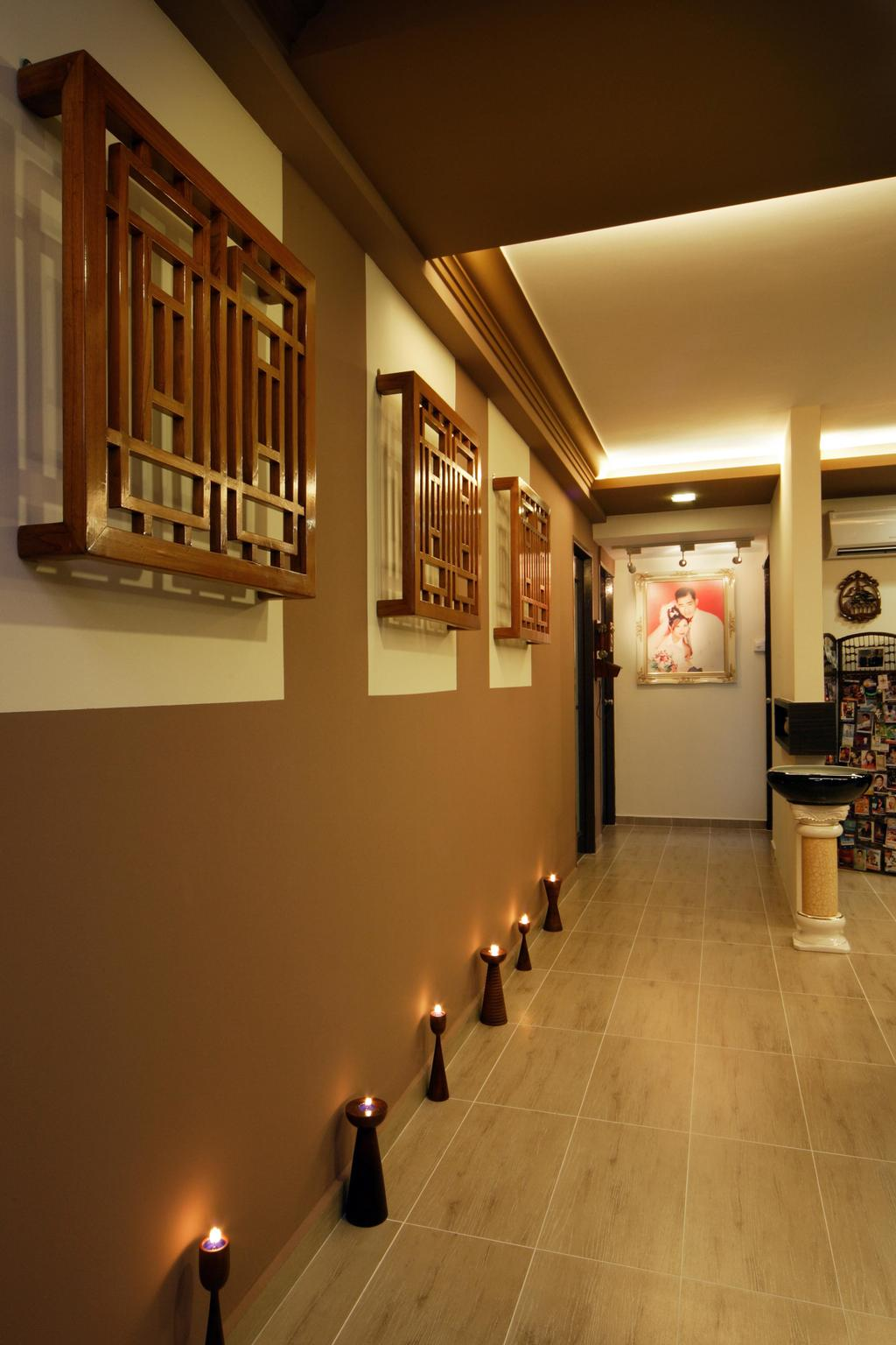 Traditional, HDB, Living Room, Tampines (Block 486A), Interior Designer, Boon Siew D'sign, Lighting, Wall Art, Wood Laminate, Wood, Laminate, White, Brown, Concealed Lighting, False Ceiling, Display Pedastal, Pedastal, Plank Flooring, Warm Tones, Toilet, Art, Art Gallery