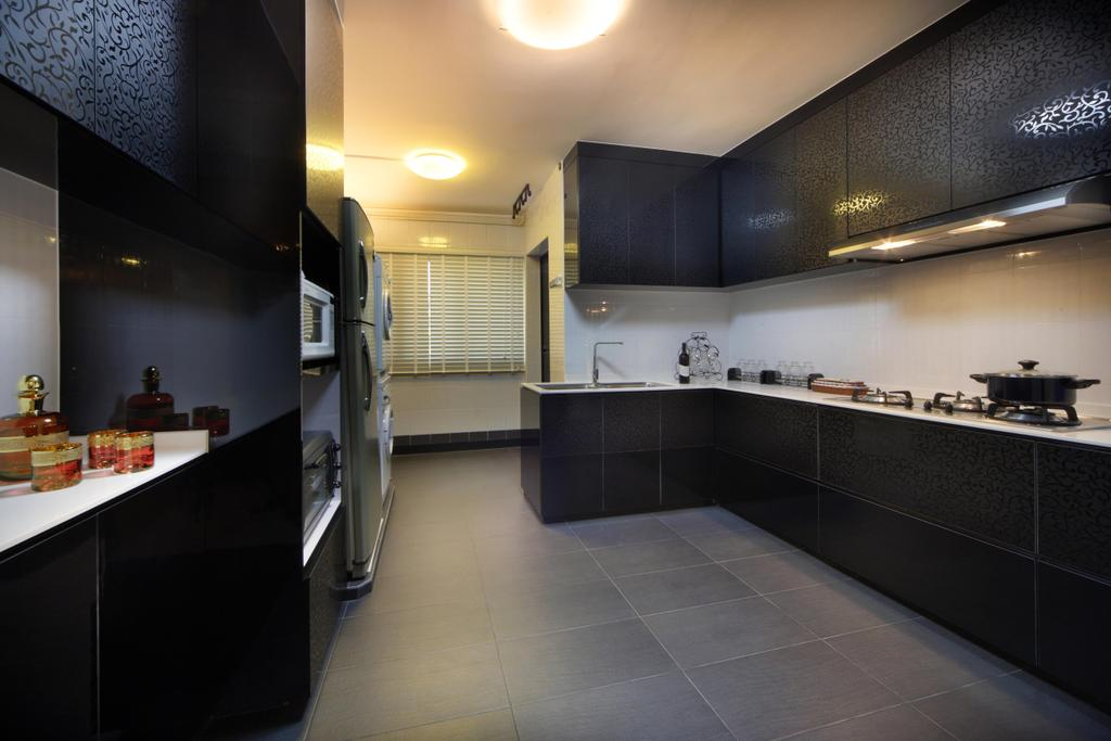 Traditional, HDB, Kitchen, Tampines (Block 486A), Interior Designer, Boon Siew D'sign, Black, Tile, Tiles, Kitchen Counter, White, Cabinet, Venetian Blinds, Monochrome, Lighting, Indoors, Interior Design, Flooring, Shelf