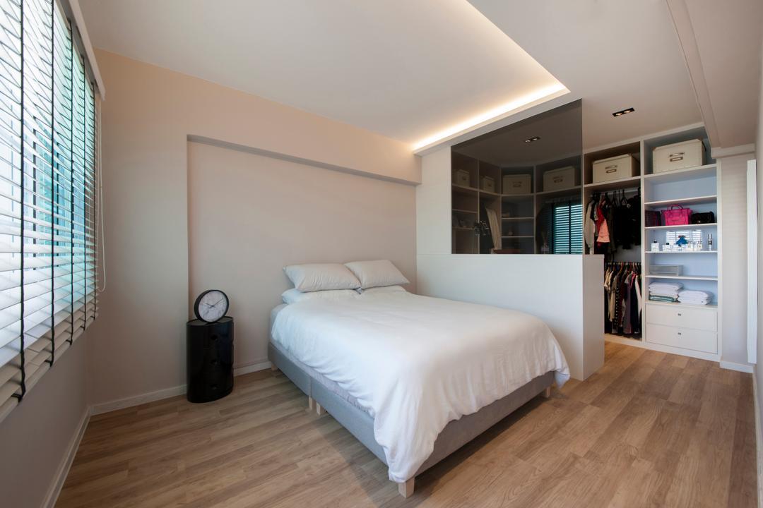Hougang, Edge Interior, Transitional, Bedroom, HDB, Master Bedroom, Bedside, Wood Flooring, Simple, Partition, Divider, Erected Partition, Bed, Furniture, Closet, Indoors, Interior Design, Room