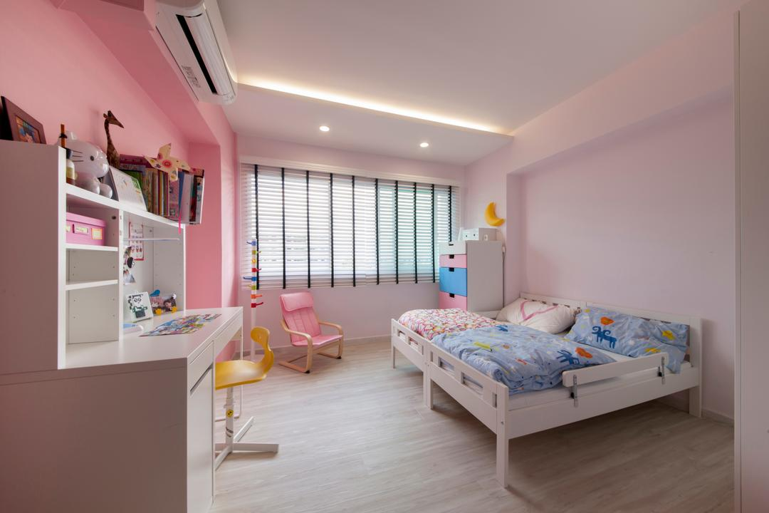 Hougang, Edge Interior, Transitional, Bedroom, HDB, Kids Room, Girls Room, Girls Room, Kids Room, Pink Walls, Wood Flooring, Venetian Blinds, Simple, Desk, Storage, Kids Bed, Bed, Furniture, Indoors, Interior Design, Room
