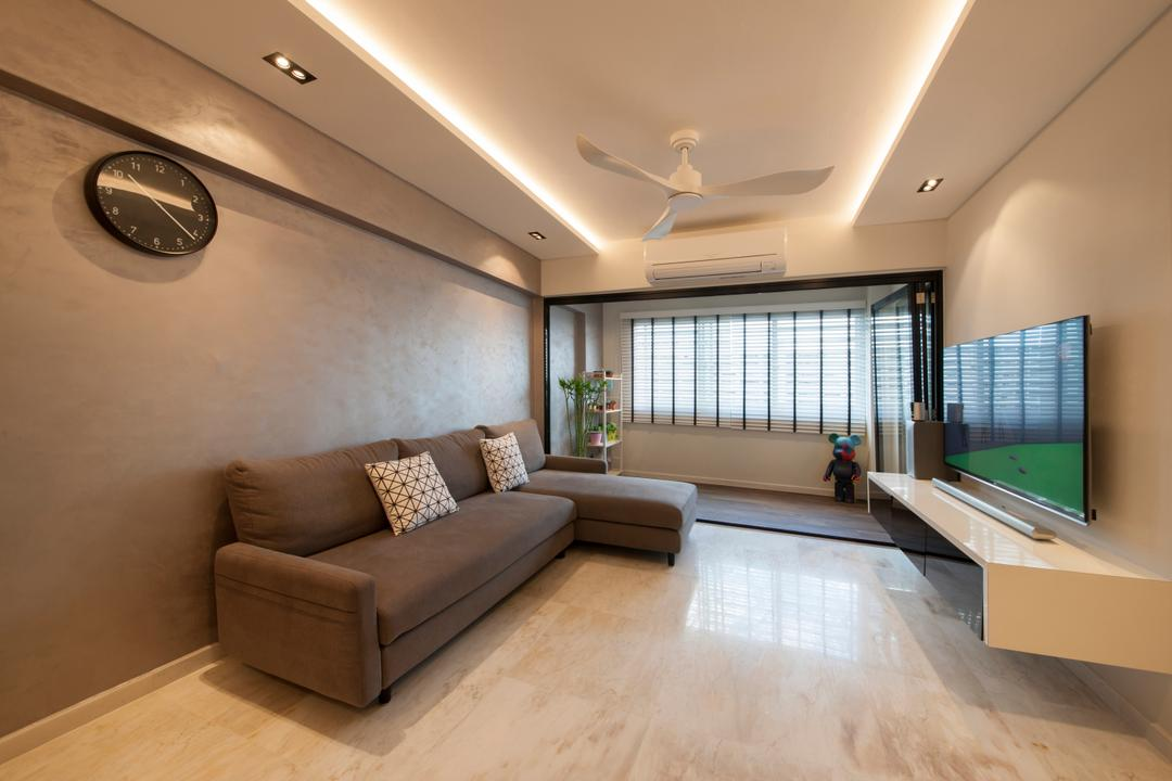 Hougang, Edge Interior, Transitional, Living Room, HDB, Big Tiles, Large Tiles, L Shaped Sofa, Sectionals, Expansive, Warm Lights, Cove Lightings, Wall Clock, Dark Colours, Suspended Console, Wall Mount Console, Couch, Furniture, Indoors, Room, Interior Design