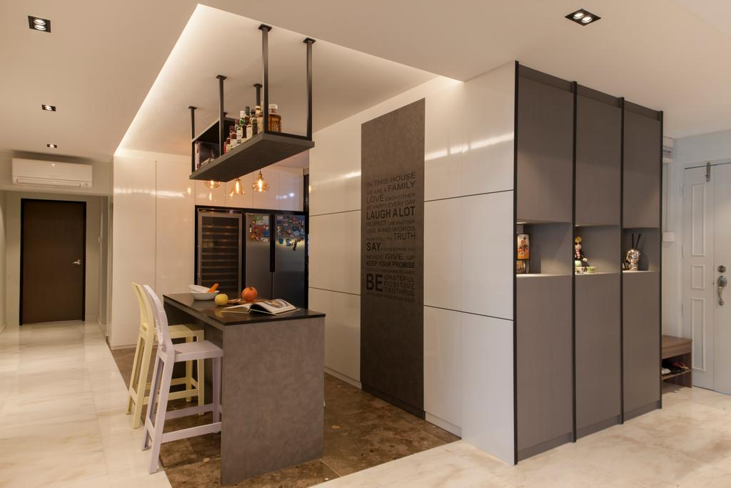 Transitional, HDB, Kitchen, Hougang, Interior Designer, Edge Interior, Open Concept, Shoe Cabinet, Hallway, Entrance, Kitchen Island, Dry Kitchen, Kitchen Counter, Countertop, Overhead Rack, Wine Rack, Bar Counter, Bar Stool, Indoors, Interior Design, Dining Table, Furniture, Table, Shelf