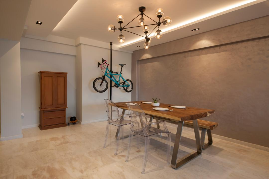 Hougang, Edge Interior, Transitional, Dining Room, HDB, Bicycle Rack, Pendant Lamp, Exposed Bulbs, Wooden Bench, Wooden Dining Table, Dining Table, Furniture, Table, Indoors, Interior Design, Room, Bicycle, Bike, Bmx, Transportation, Vehicle