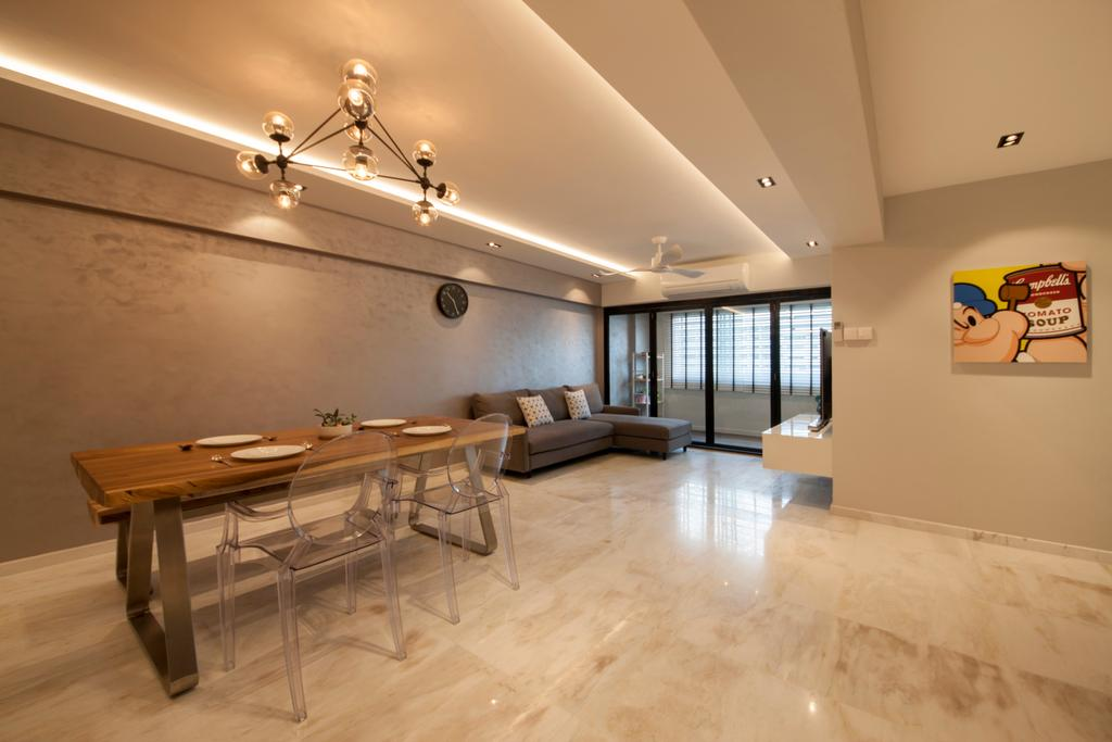 Transitional, HDB, Dining Room, Hougang, Interior Designer, Edge Interior, Hallway, Corridor, Large Tiles, Wooden Dining Table, Quirky Lamp, Ghost Chairs, Acrylic Chairs, Light Fixture, Dining Table, Furniture, Table, Flooring