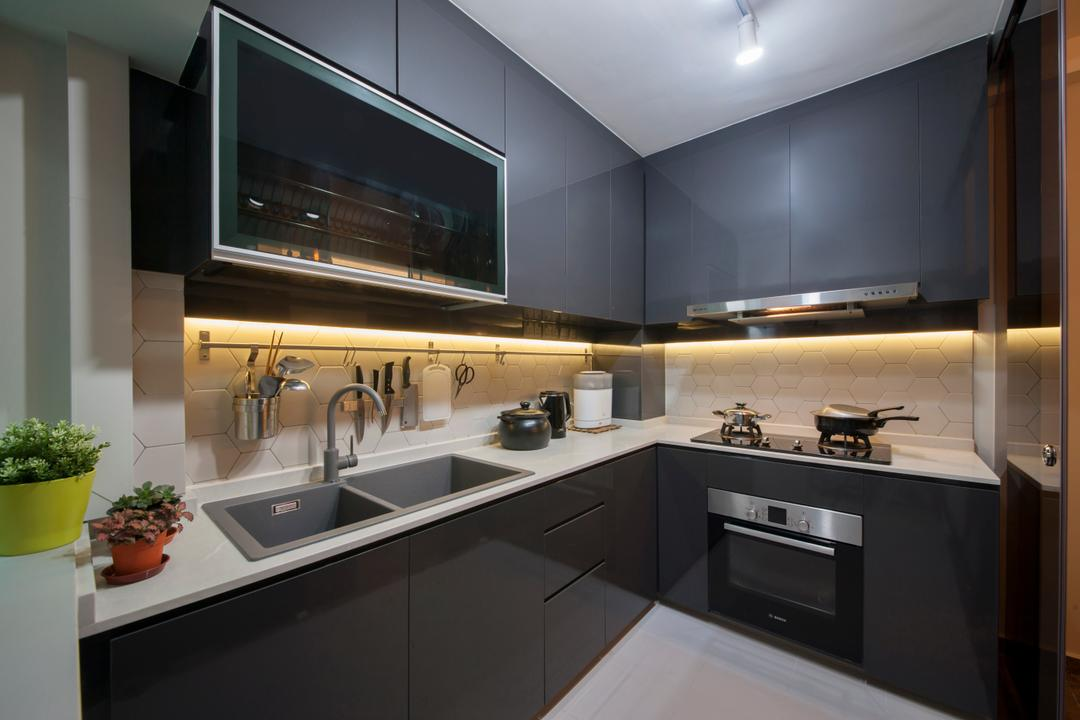 Hougang, Edge Interior, Transitional, Kitchen, HDB, L Shaped Kitchen, Solid Surface, Under Cabinet Lightings, Backsplash, Rod, Hanging Rod, Kitchen Sink, Stove, Appliances, Oven, Appliance, Electrical Device, Sink, Indoors, Interior Design, Room