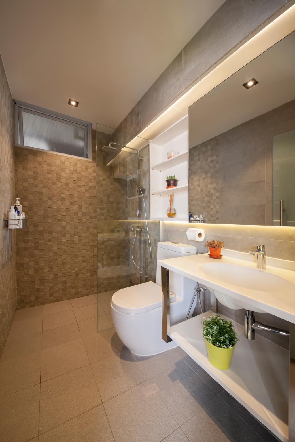 Transitional, HDB, Bathroom, Hougang, Interior Designer, Edge Interior, Tiles, Mosaic Tiles, Shower, Vanity Sink, Large Mirror, Sink, Indoors, Interior Design, Room, Building, Housing, Loft, Toilet
