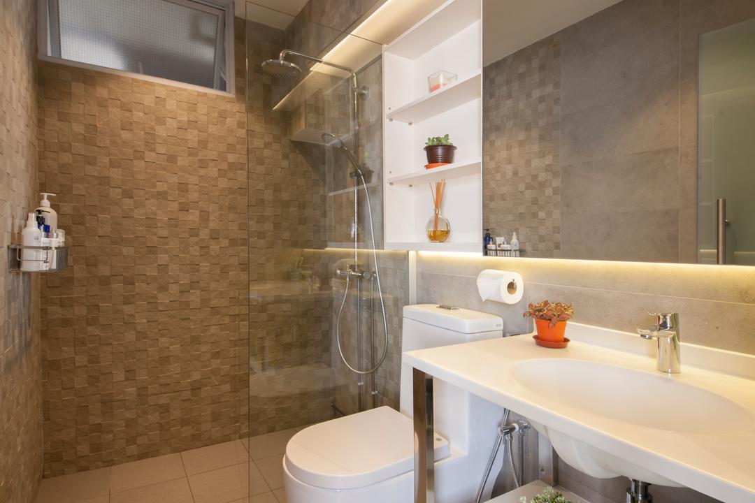 Hougang, Edge Interior, Transitional, Bathroom, HDB, Tiles, Mosaic Tiles, Shower, Vanity Sink, Large Mirror, Sink, Indoors, Interior Design, Room, Building, Housing, Loft, Toilet