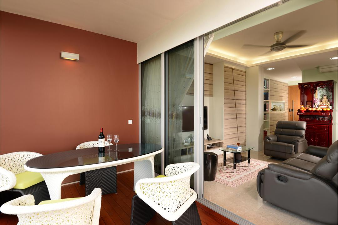 Waterfront Key (Block 772), Boon Siew D'sign, Traditional, Living Room, Condo, Balcony, Table, Coffee Table, Sofa, Chair, Brown, Glass Sliding Doors, Curtains, Rug, Glass Table, Wood Laminate, Ceiling Fan, Concealed Lighting, Couch, Furniture, Indoors, Room, Sink