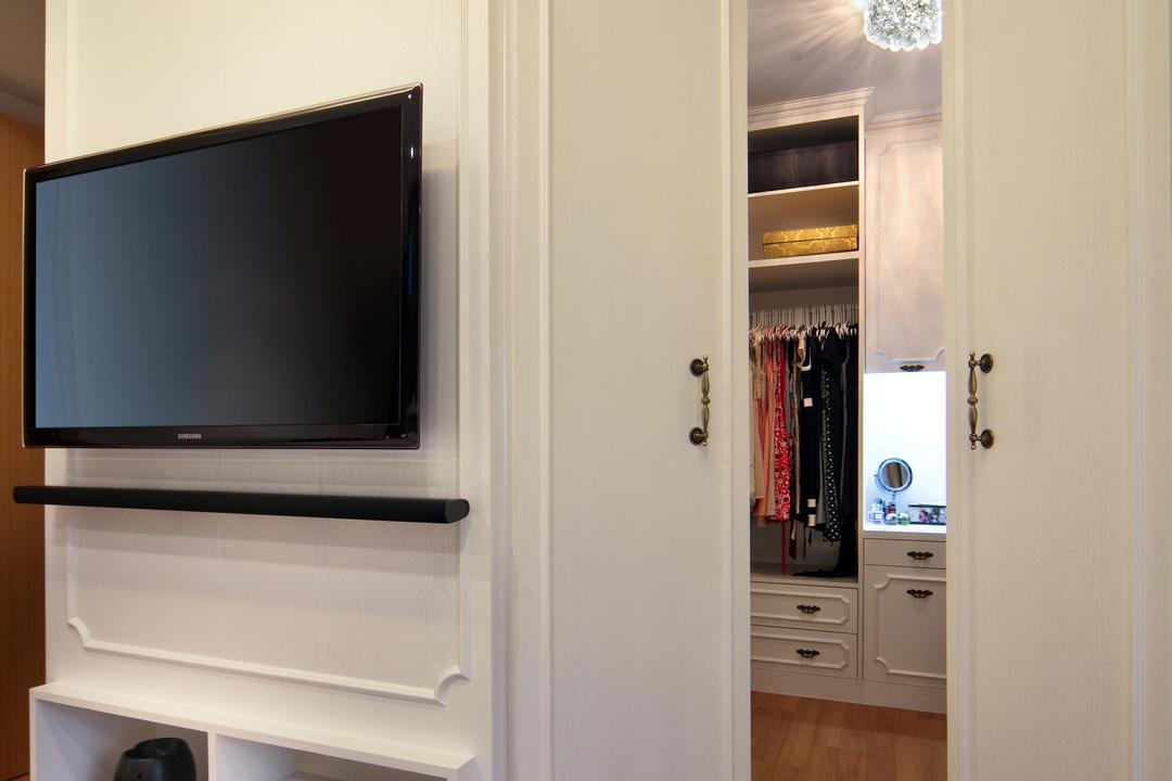Prive (Block 33A), Boon Siew D'sign, Vintage, Bedroom, Condo, Master Bedroom, Walk In Wardrobe, Wall Panels, Doors, White, Parquet, Victorian, Lighting, Glamorous, Electronics, Entertainment Center