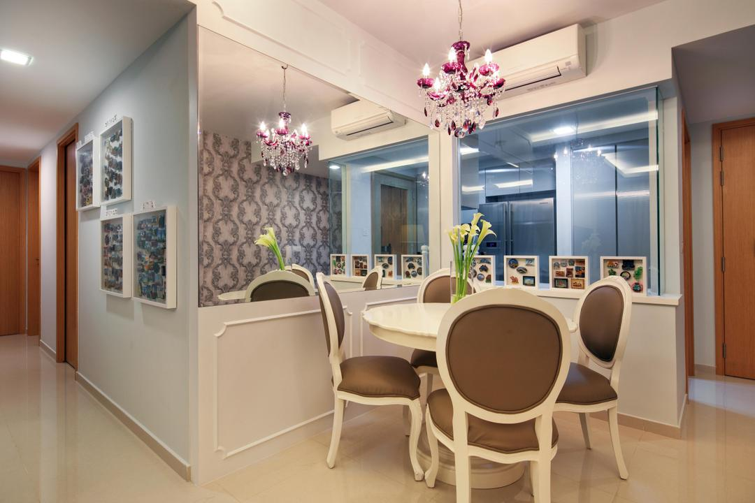 Prive (Block 33A), Boon Siew D'sign, Vintage, Dining Room, Condo, Mirror, Dining Table, Chair, Hanging Light, Lighting, Wall Panels, White, Glass Wall, Chandelier, Victorian, Indoors, Interior Design, Room, Furniture, Table