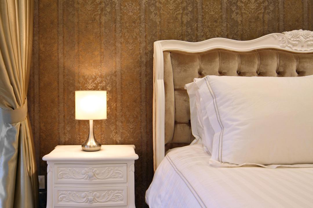 Prive (Block 33A), Boon Siew D'sign, Vintage, Bedroom, Condo, Master Bedroom, Wallpaper, Brown, Victorian, Headboard, Quilted, Floral, Stripes, Parquet, Lamp, Side Table, Nightstand, Wooden Flooring, Bed, Furniture, Indoors, Interior Design, Room